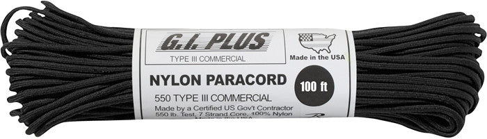 Black - Military Grade 550 LB Tested Type III Paracord Rope 100' - Nylon USA Made