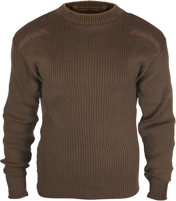 Brown - Military Style Army Commando Crew Neck Sweater - Acrylic