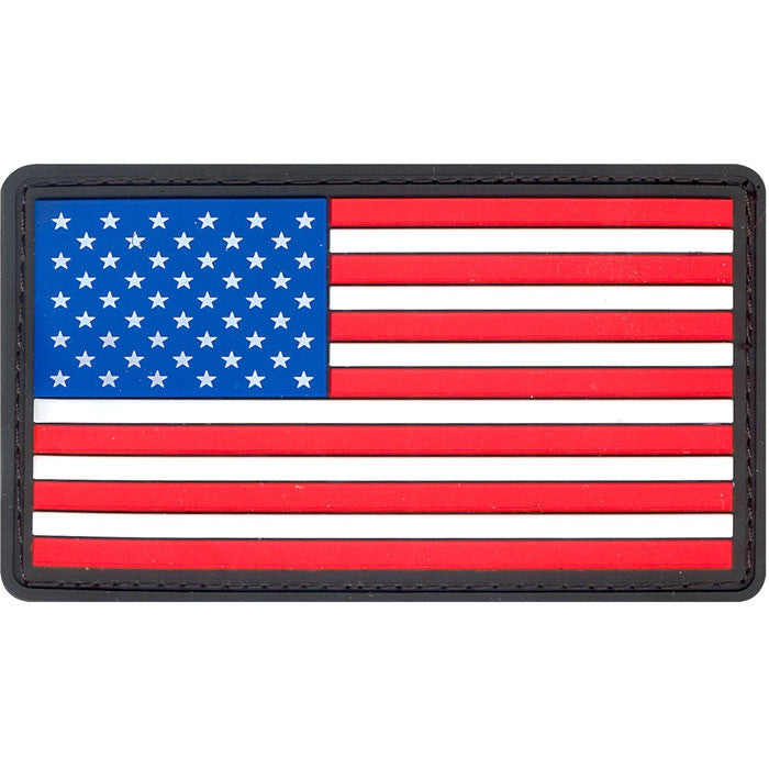 Red White Blue - PVC US Flag Patch with Hook Back