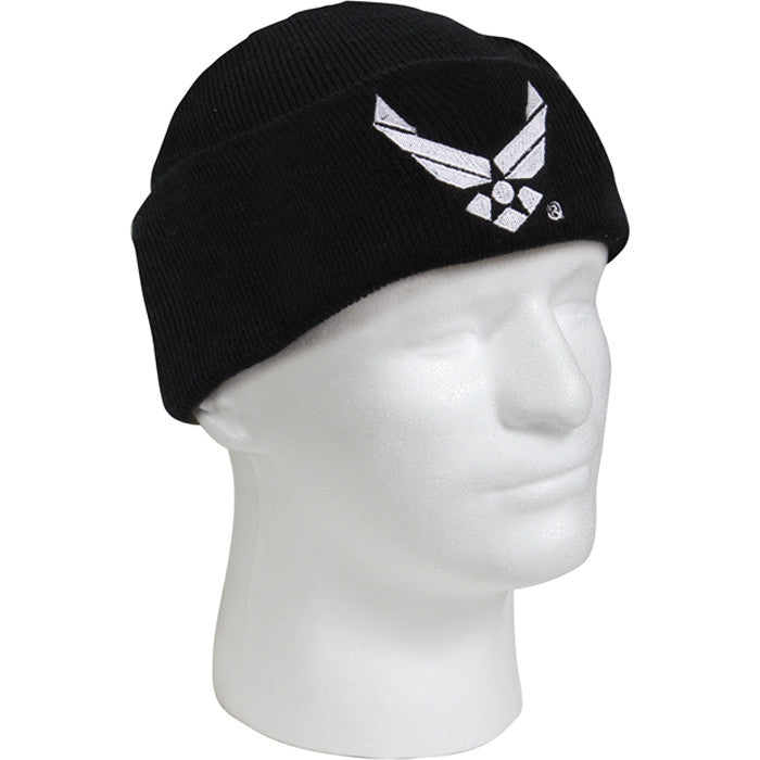 US Air Force Wing Embroidered Military Watch Cap Black