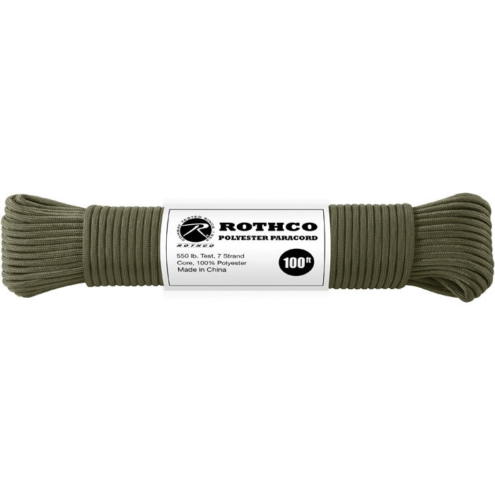 Olive Drab - Polyester 550 LB Tested 100 Feet Paracord Rope