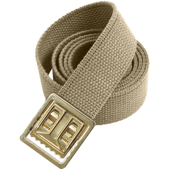 Khaki - Military Web Belt with Gold Brass Open Face Buckle 54 in.