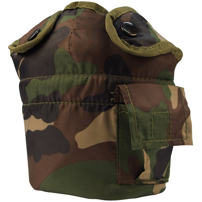 Woodland Camouflage - Military GI Style 1 Quart Canteen Cover - Nylon