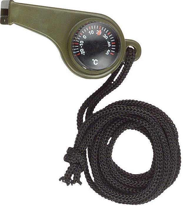 Olive Drab - Official Military Super Whistle with Compass & Tempature