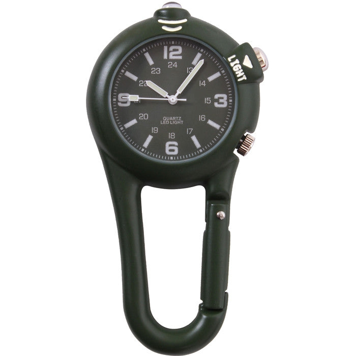 Olive Drab - Clip Watch with LED Light