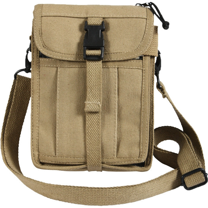 5435f9360f74 Khaki - Tactical Canvas Travel Portfolio Shoulder Bag - Army Navy Store