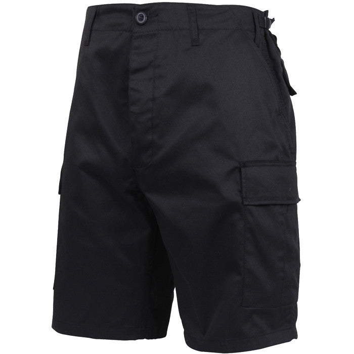 Black - Military Cargo BDU Shorts - Polyester Cotton Twill