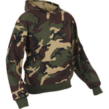 Woodland Camouflage - Kids Hooded Pullover Sweatshirt