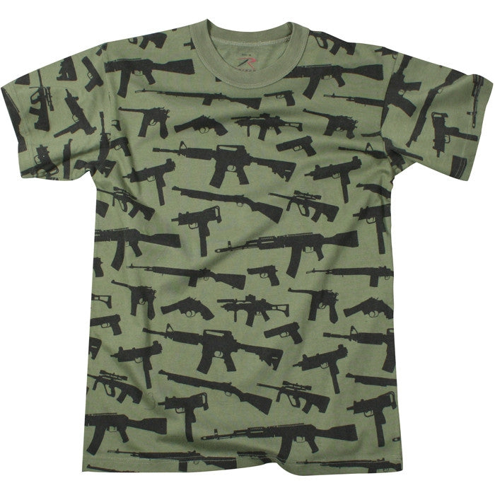Olive Drab - Vintage Guns & Rifles Military T-Shirt - Cotton Polyester