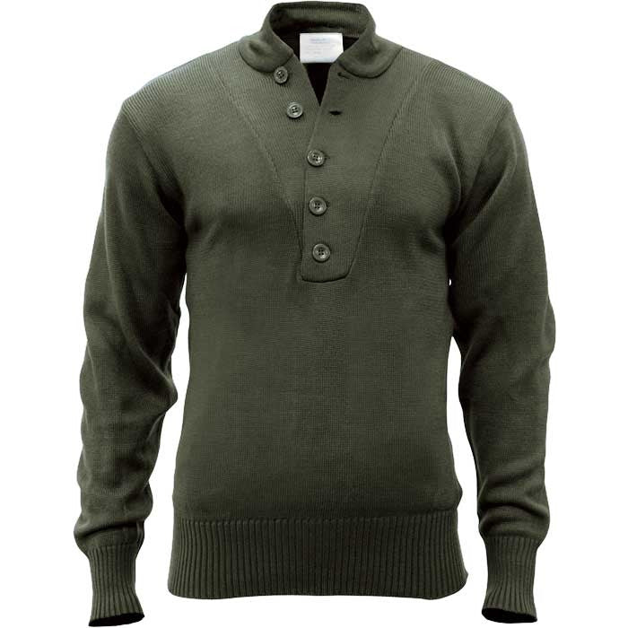 Olive Drab - 5-Button Military GI Style Sweater - Acrylic