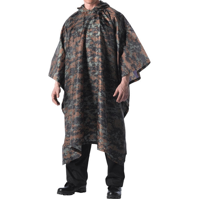 Digital Woodland Camouflage - GI Enhanced Military Style Poncho - Polyester Ripstop