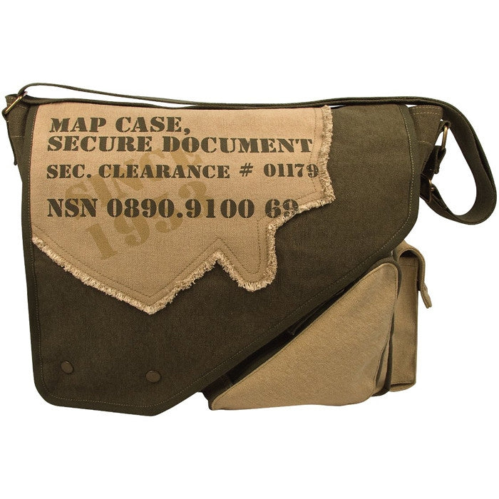 Olive Drab   Tan - Vintage 2-Tone Imprinted Map Case Messenger Bag