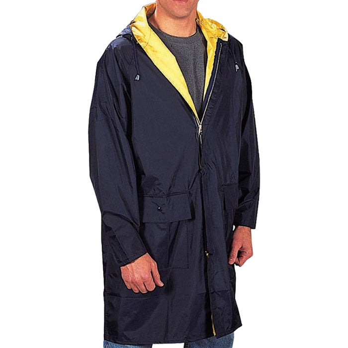 Navy Blue To Yellow - Reversible Mid Length Rain Parka