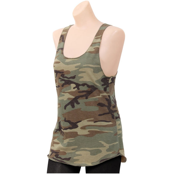 Woodland Camouflage - Womens Racerback Tank Top