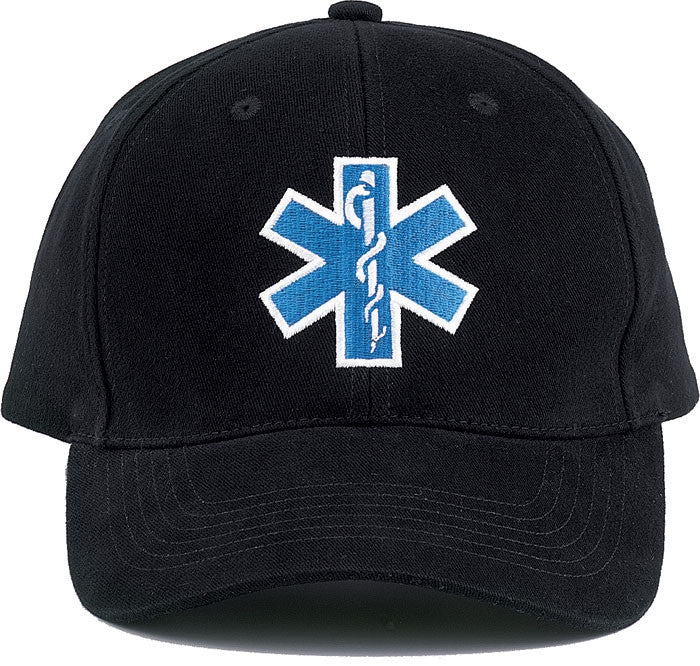 Black - Public Safety Adjustable Cap with EMS EMT Logo