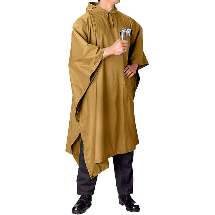 Coyote Brown - GI Enhanced Military Style Poncho - Polyester Ripstop
