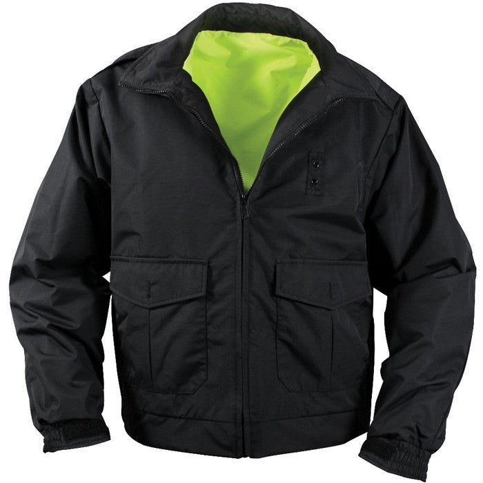 Yellow To Black - Reversible Water Resistant High-Visibility Uniform Jacket