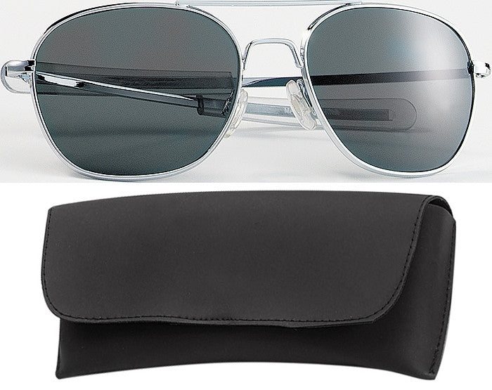 Chrome - Military 52mm Air Force Pilots Aviator Sunglasses with Case - Smoke Lenses