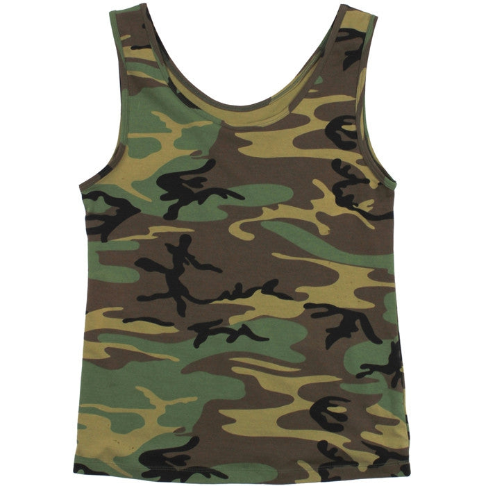 Woodland Camouflage - Womens Stretch Tank Top