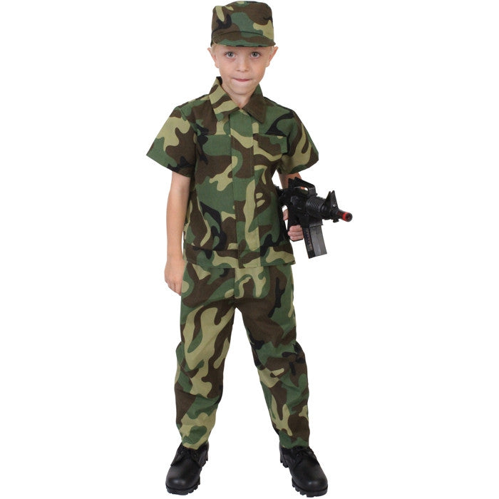 Woodland Camouflage - Kids Solider Halloween Costume Set