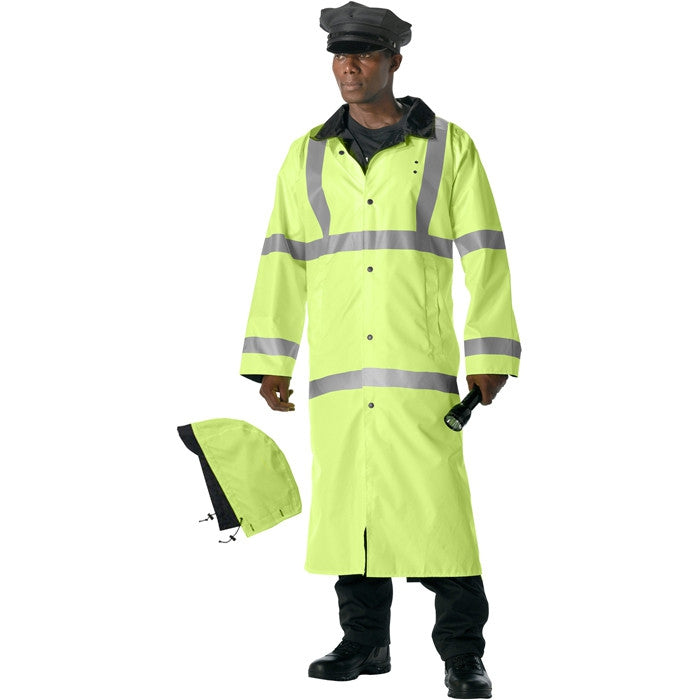 Safety Green To Black - Reflective High-Visibility Reversible Rain Parka with Hood