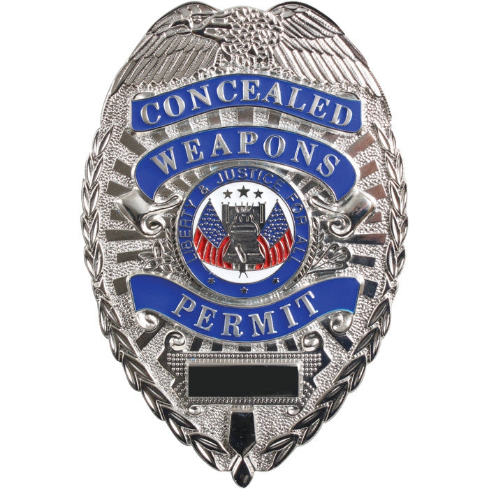 Deluxe Silver - Public Safety CONCEALED WEAPON PERMIT Badge