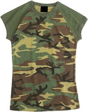 Woodland Camouflage - Womens Military Raglan T-Shirt