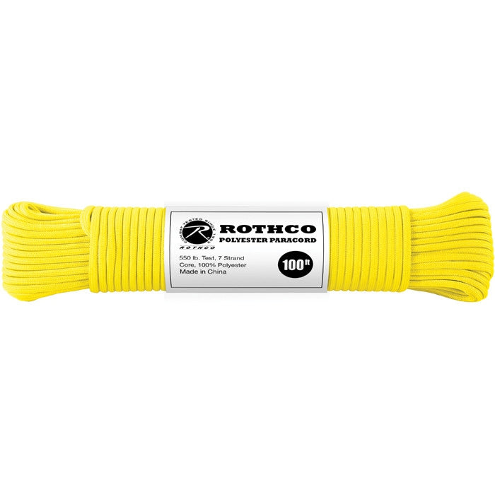 Safety Yellow - Polyester 550 LB Tested 100 Feet Paracord Rope