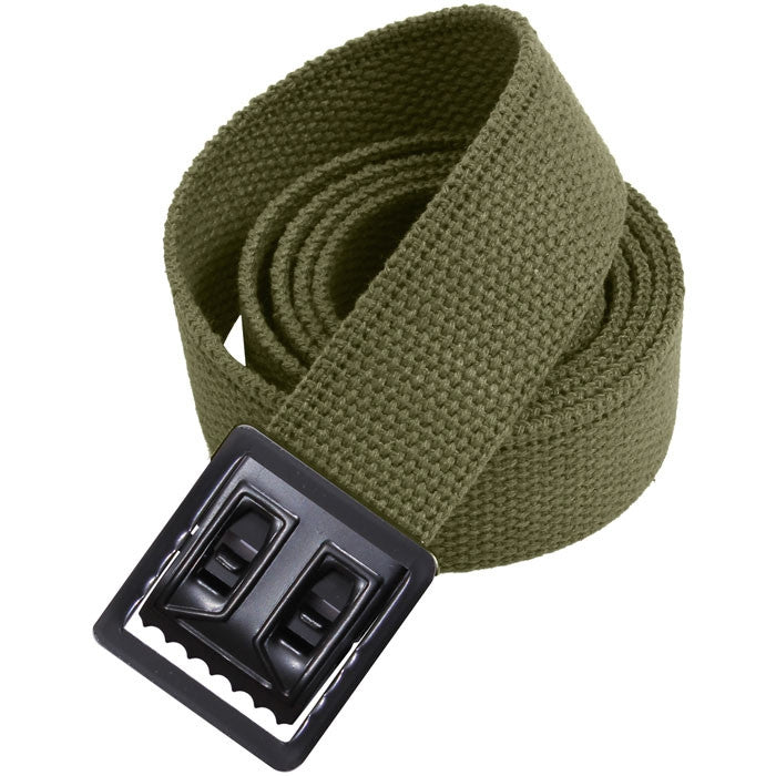 Olive Drab - Military Web Belt with Black Open Face Buckle