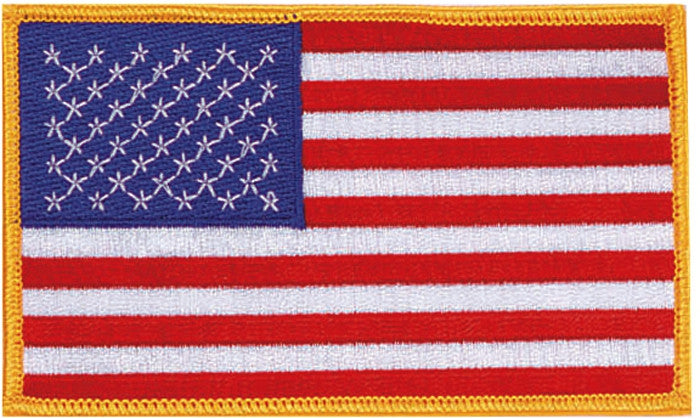 Red White Blue - Jumbo US Flag Sew On Patch with Gold Borders