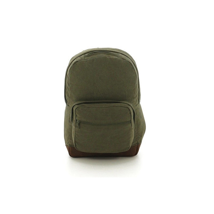 Olive Drab   Brown - Vintage Canvas Teardrop Backpack with Leather Accents