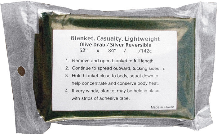 Olive Drab - Military GI Style Lightweight Combat Casualty Blanket
