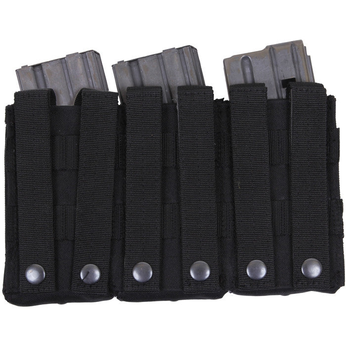 Black - MOLLE Compatible Triple MAG Pouch