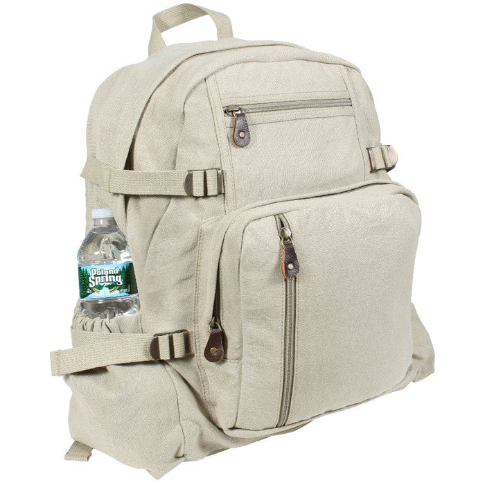Khaki - Vintage Military Style Jumbo Backpack