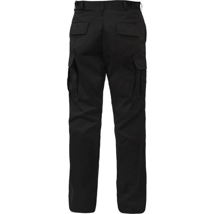 Black - Military BDU Pants with Zipper Fly - Cotton Polyester Twill