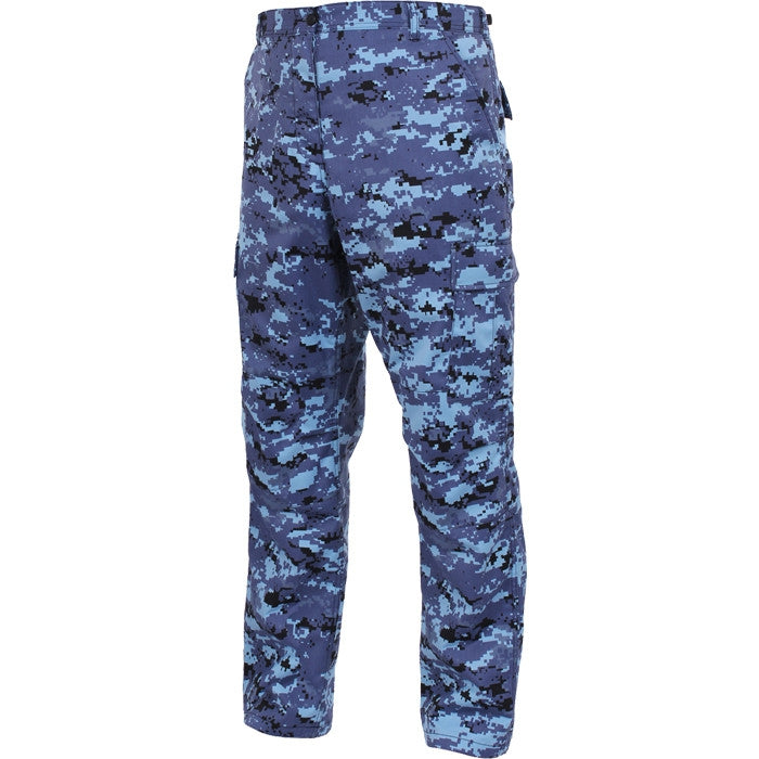 Digital Sky Blue Camouflage - Military BDU Pants - Cotton Polyester Twill
