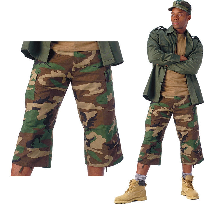 Woodland Camouflage - Military BDU Capri Pants - Cotton Ripstop