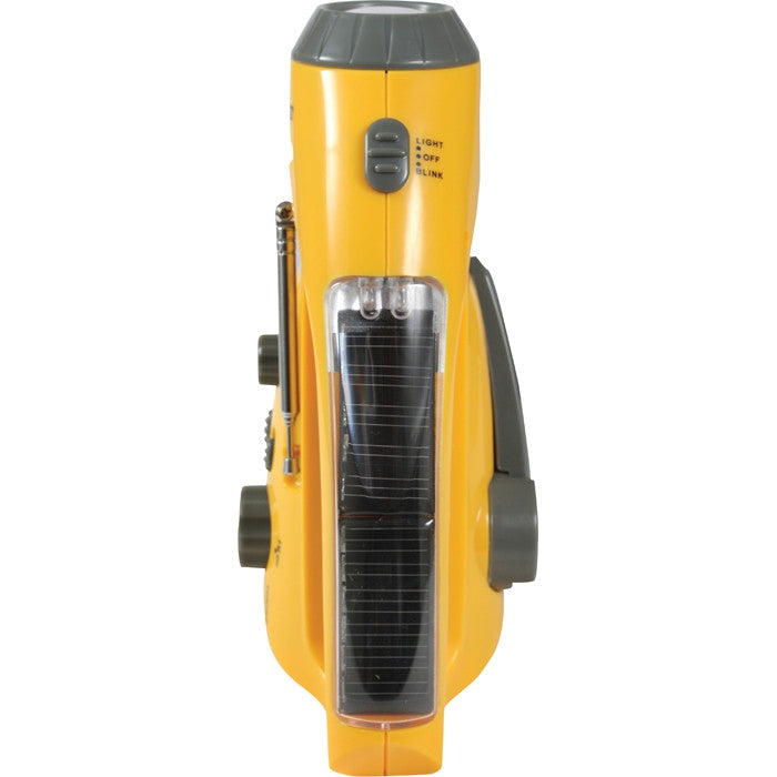 Yellow - Solar Powered Radio & LED Flashlight with Power Crank