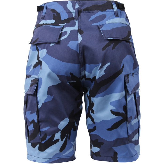 Sky Blue Camouflage - Military Cargo BDU Shorts - Polyester Cotton Twill