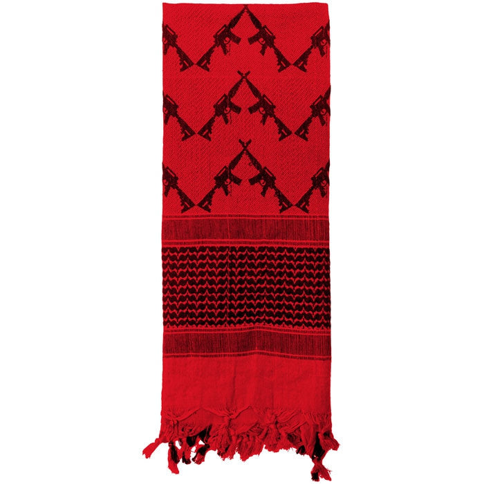 Red - Crossed Rifles Shemagh Tactical Desert Scarf