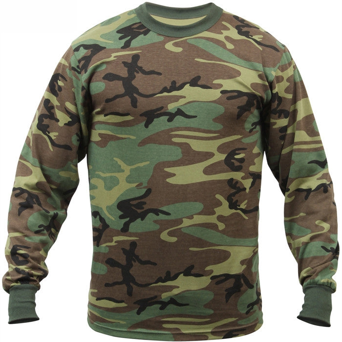 Woodland Camouflage - Military Long Sleeve T-Shirt