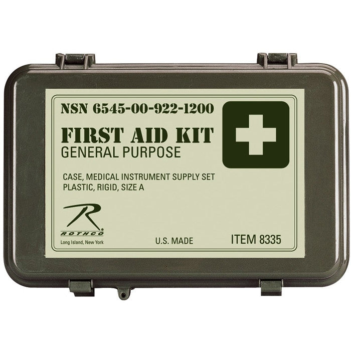 Olive Drab - Military Waterproof General Purpose First Aid Kit - USA Made