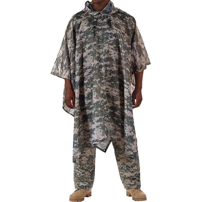ACU Digital Camouflage - GI Enhanced Military Style Poncho - Polyester Ripstop
