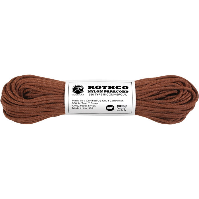 Chocolate Brown - Military Grade 550 LB Tested Type III Paracord Rope 100' - Nylon USA Made