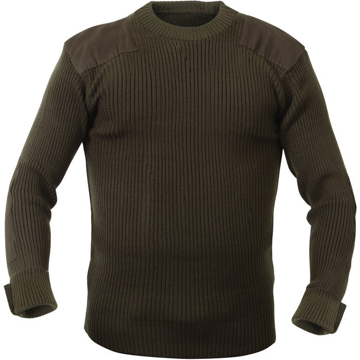 Olive Drab - Military Style Army Commando Crew Neck Sweater - Acrylic