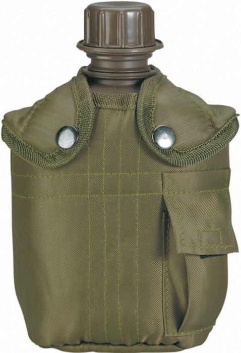 Olive Drab - Military GI Style 1 Quart Plastic Canteen with Cover