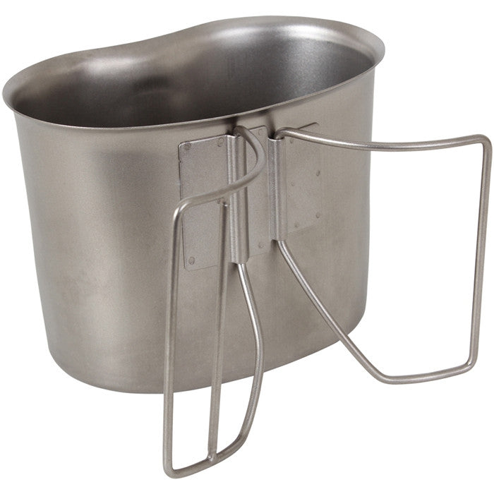 Stainless Steel Military Camping 1 Quart Canteen Cup with Butterfly Handle