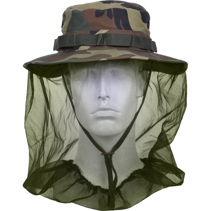 Woodland Camouflage - Boonie Hat with Mosquito Netting