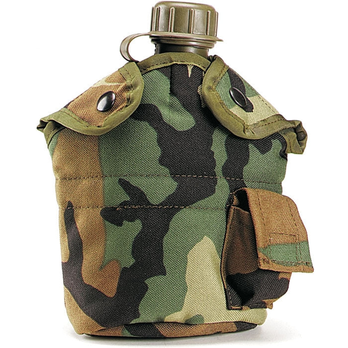 Woodland Camouflage - Military GI Style Enhanced 1 Quart Canteen Cover - Nylon