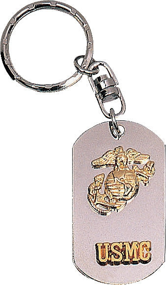 Silver - USMC Dog Tag Key Chain with Globe and Anchor Emblem